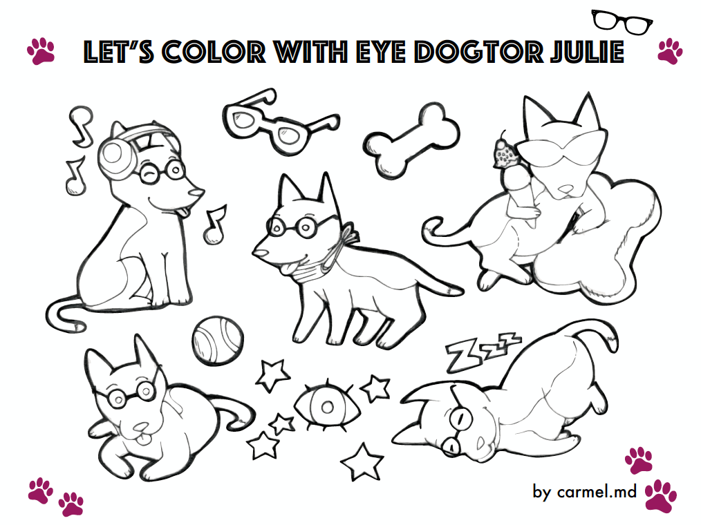 Eye Dogtor Julie, coloring sheet, color, carmel.md