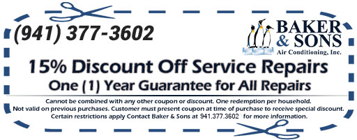 Air Condition Coupons in Sarasota and Bradenton; Discount off service repairs; baker and sons AC