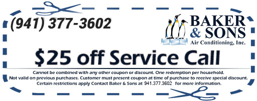 Air Condition Coupons in Sarasota and Bradenton; $25 Off Service Call