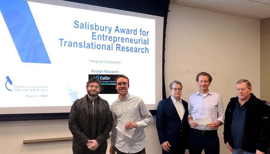 Inaugural Salisbury Award winner Eduardo Laborda (2nd from Left) and runner-up Luke Lairson (4th), alongside Scripps Research and Calibr COO Matt Tremblay (1st), NFCR CEO Emeritus Franklin Salisbury, Jr., (3rd) and NFCR Scientific Advisory Board Chairman Webster Cavenee (5th)