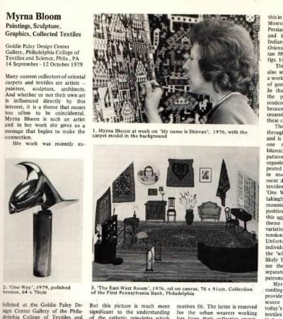 News article about Myrna Bloom