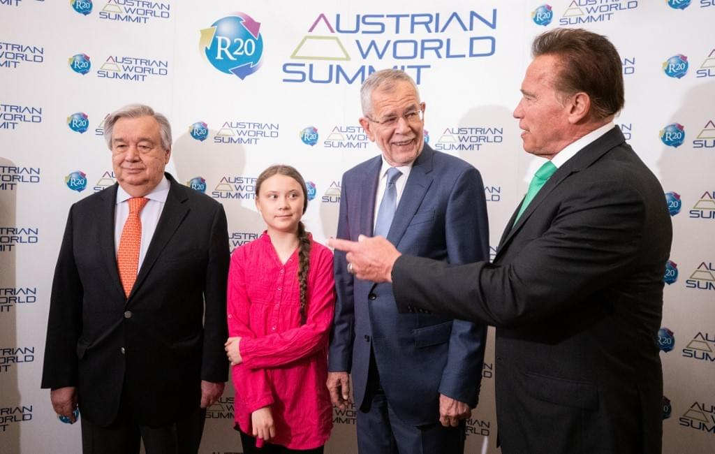 Greta Thunberg and Arnold Schwarzenegger at R20 Austrian World Summit, Climate Kirtag