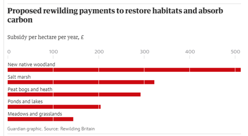 Proposed rewilding payments to restore habitats and absorb carbon
