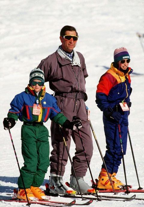 Prince Charles, Prince William & Prince Harry Skiing