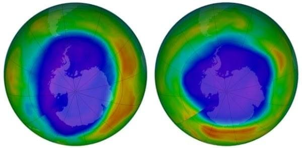Areas of low ozone above Antarctica September 2000 vs September 2018