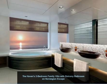 The Haven's 2-Bedroom Family Villa with Balcony Bathroom on the Norwegian Escape.