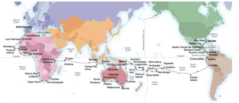 Seabourn 2023 World Cruise itinerary map
