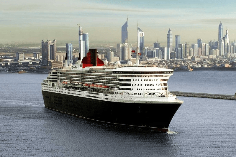 Cunard cruise line on the Queen Mary 2 world cruise ship for 2023 itinerary.