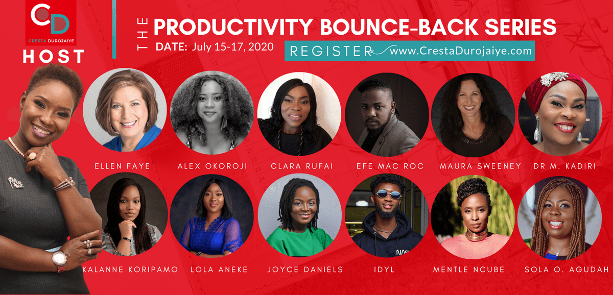 Speakers at The Productivity Bounce Back Series hosted by Cresta Durojaiye