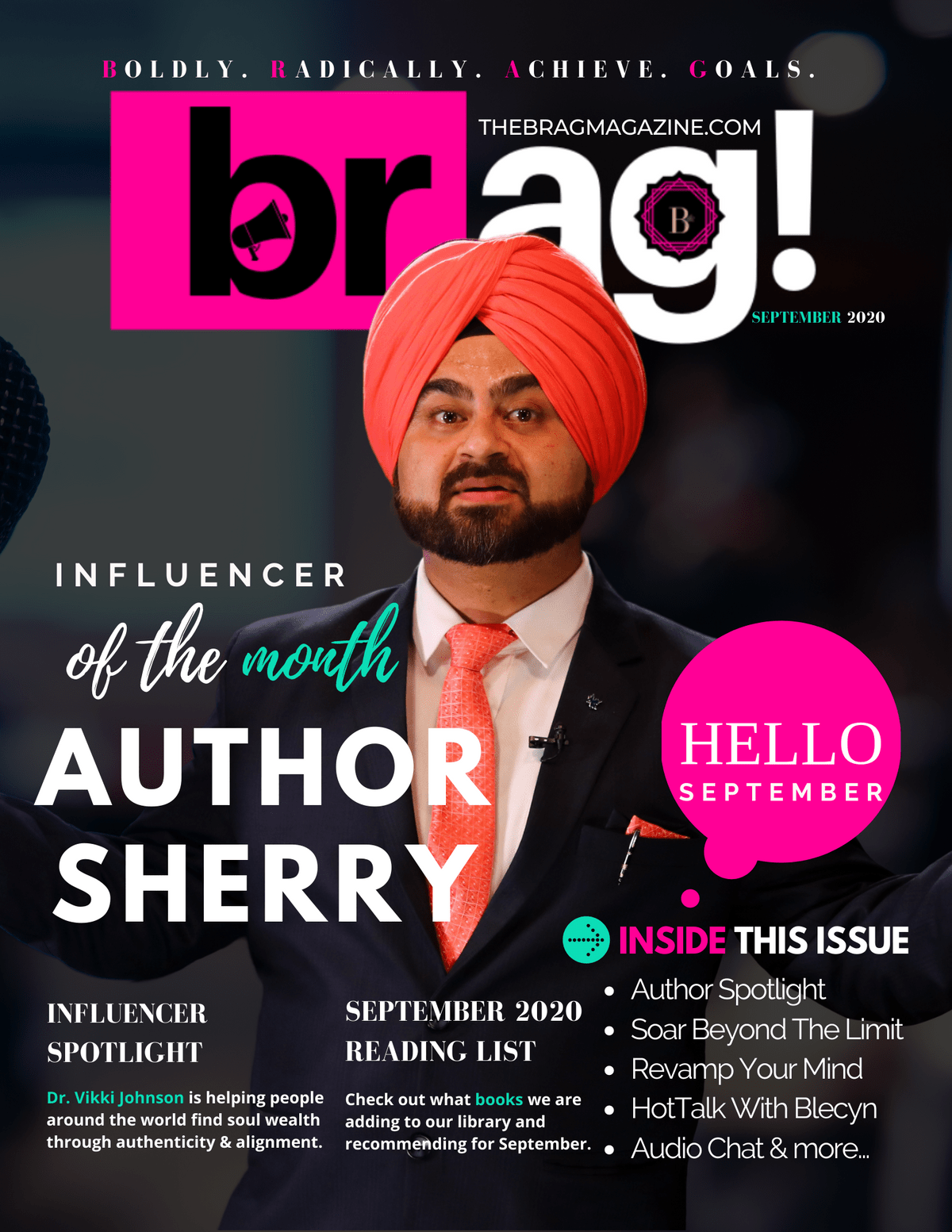 Author Sherry on the July cover of BRAG Magazine, published by The BRAG Media Company