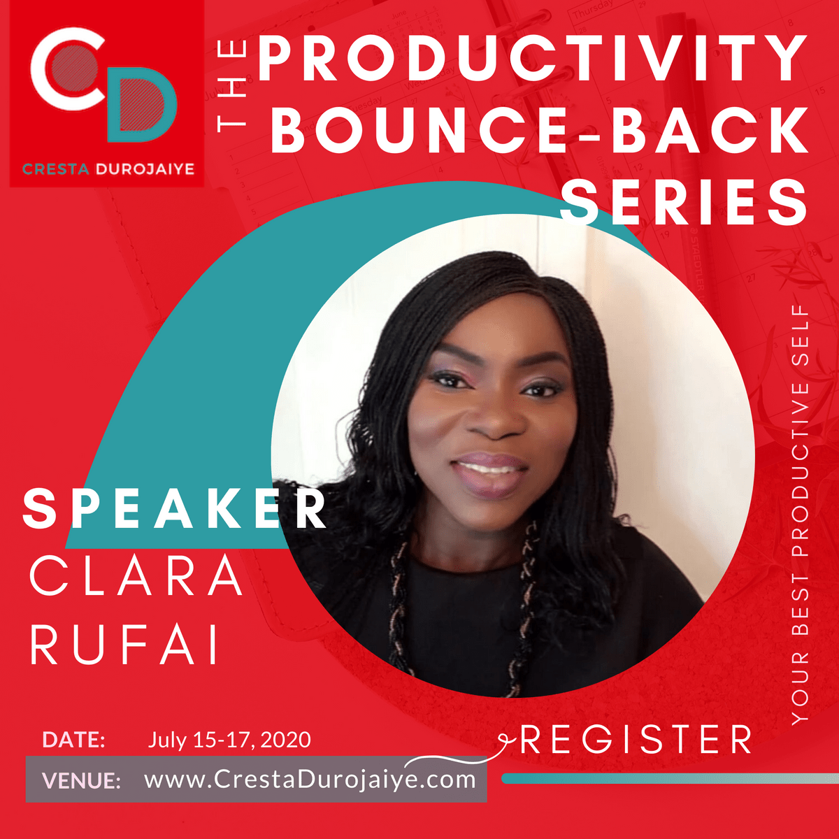 Clara Rufai is speaking at The Productivity Bounce Back Series