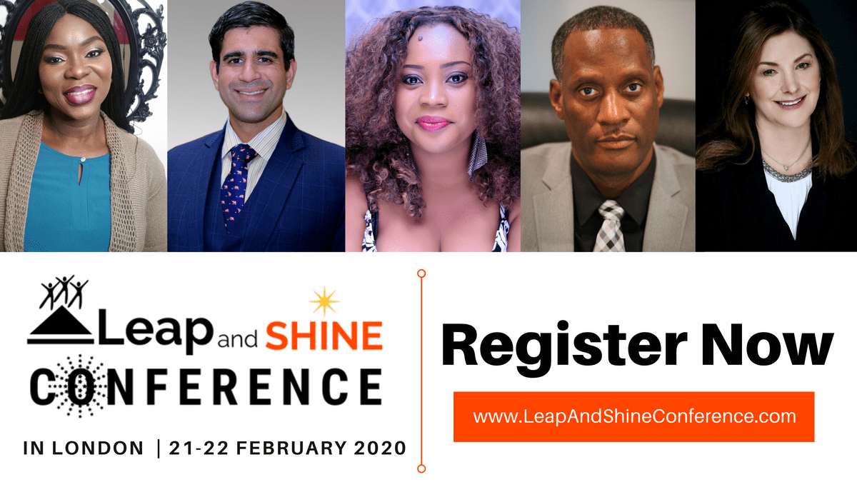 CLara Rufai, Sameer Somal, Alex Okoroji, Dr Corey Hicks (Coach Corey), Suki Lanaido-Smith are speakers for Leap and SHINE Conference 2020