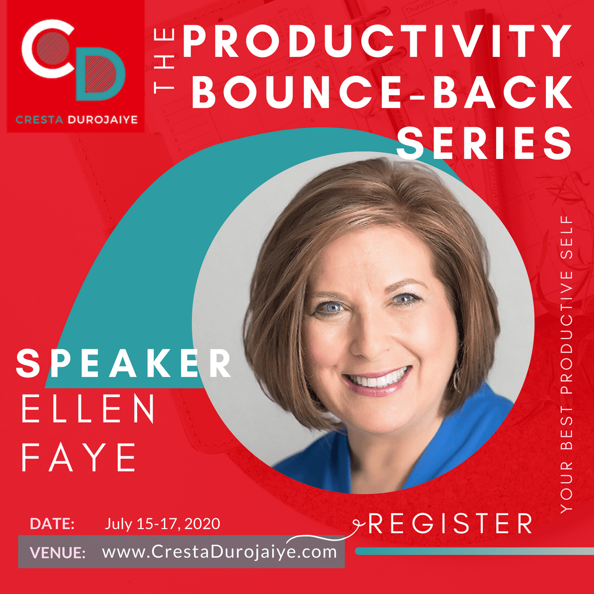 Ellen Faye is speaking at The Productivity Bounce Back Series
