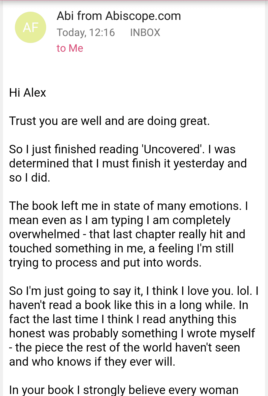 Review Screenshot 1 of Uncovered Book by Alex Okoroji