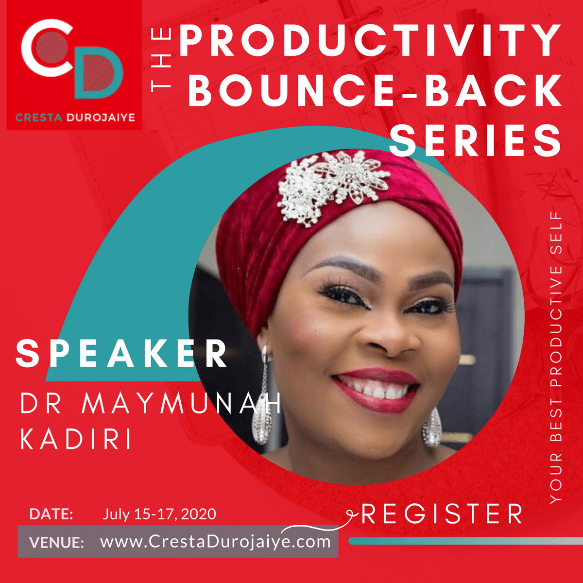 Dr Maymunah Kadiri is speaking at The Productivity Bounce Back Series