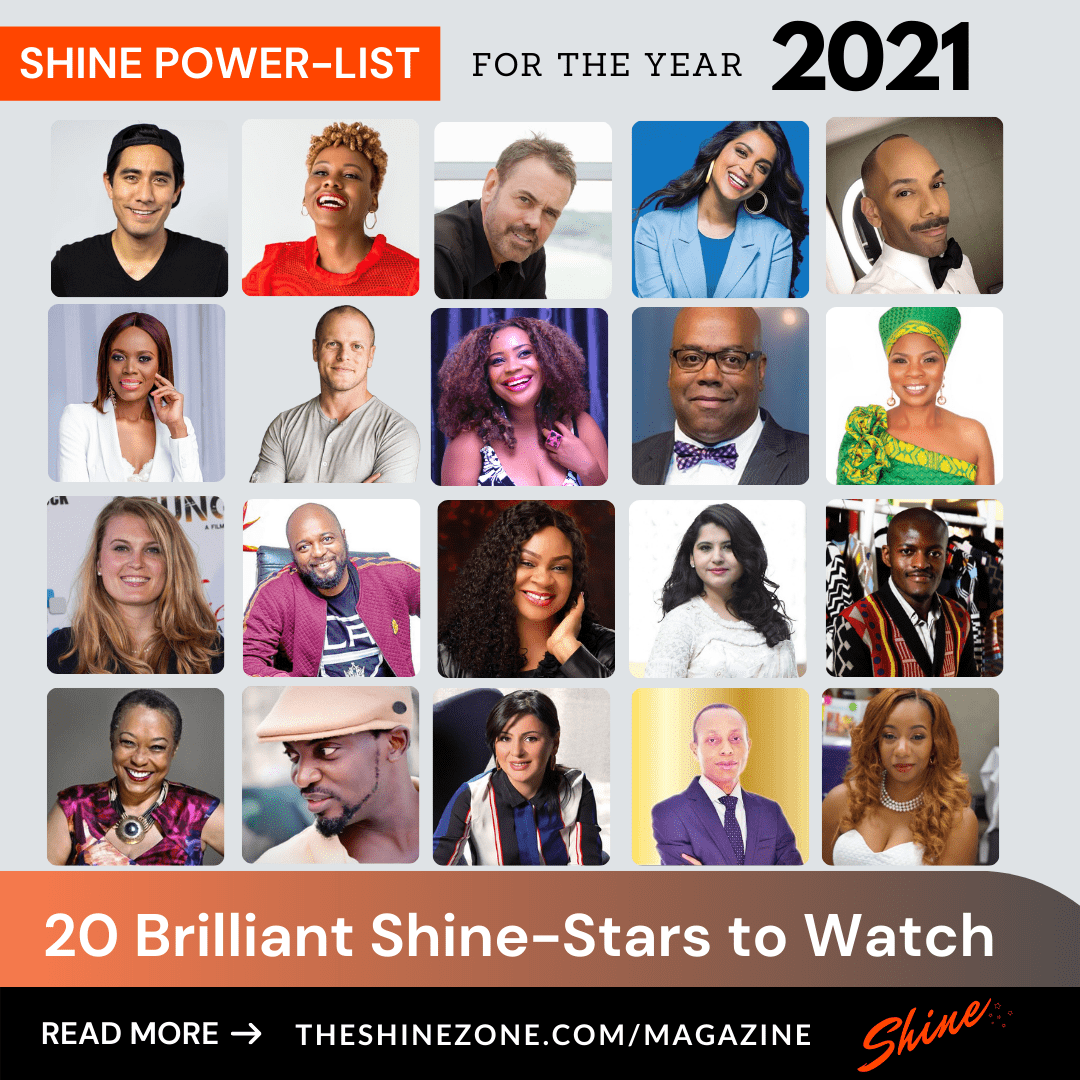 SHINE Magazine's Power List featuring 20 Briliant Shine Stars to Watch in 2021