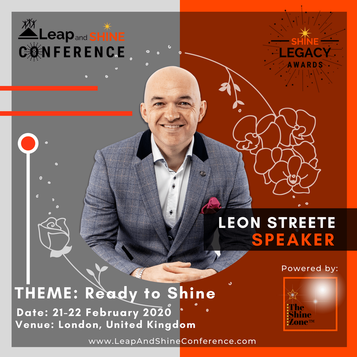 Leon Streete is speakinga t the Leap and Shine Conference 2020