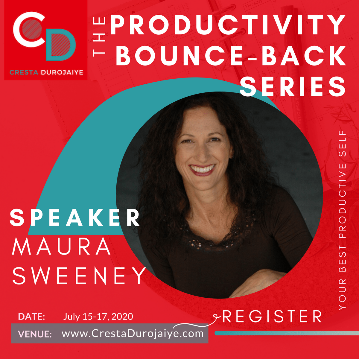 Maura Sweeney is speaking at The Productivity Bounce Back Series