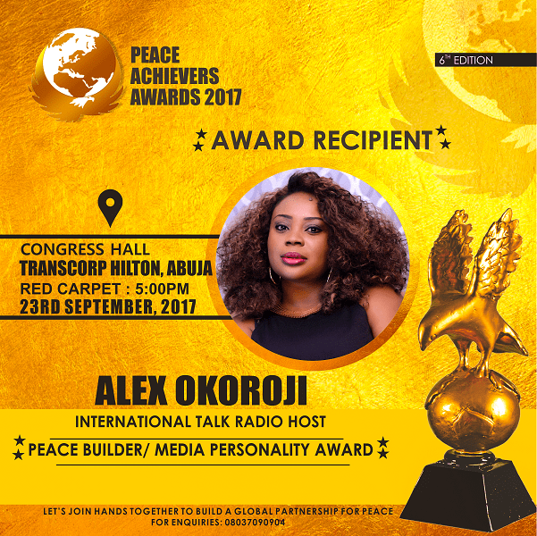 Alex Okoroji Receives Media Personality Award of the Year at the 2017 Peace Achievers Award