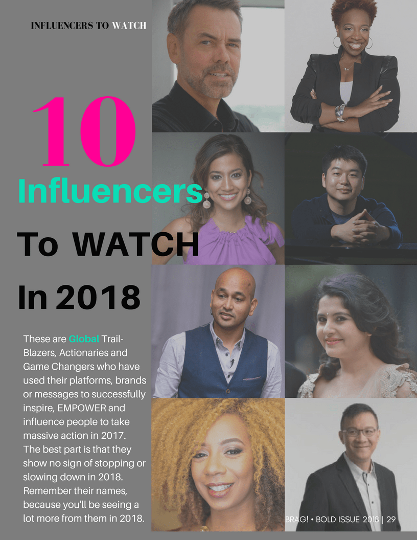 BRAG Releases a List of 10 Influencers to watch in 2018