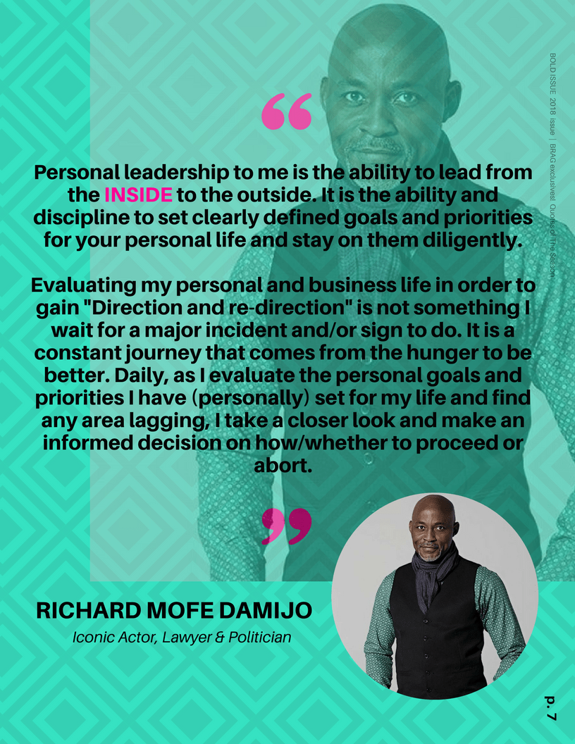 Actor, Richard Mofe Damijo (RMD) is featured in 2018 Bold Issue of BRAG!