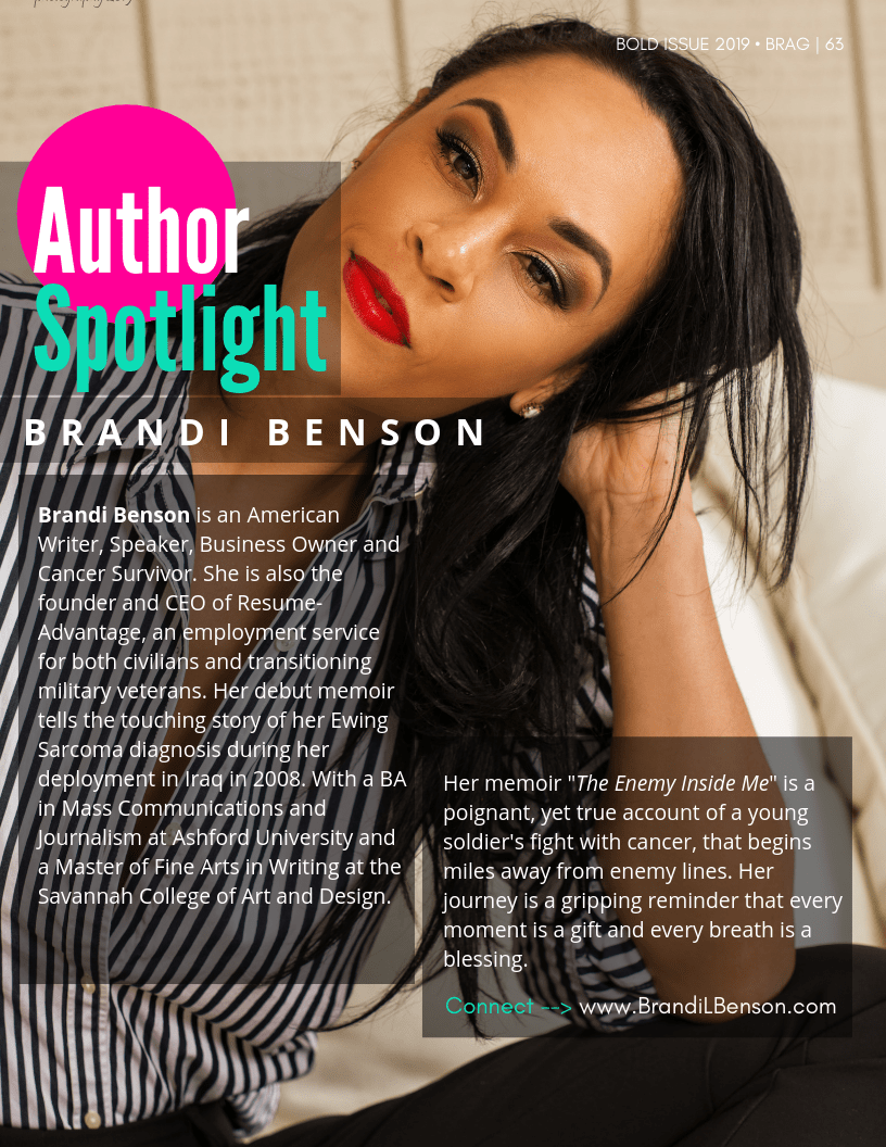 BRAG Bold Winter 2019 Issue featuring, Author, Brandi Benson