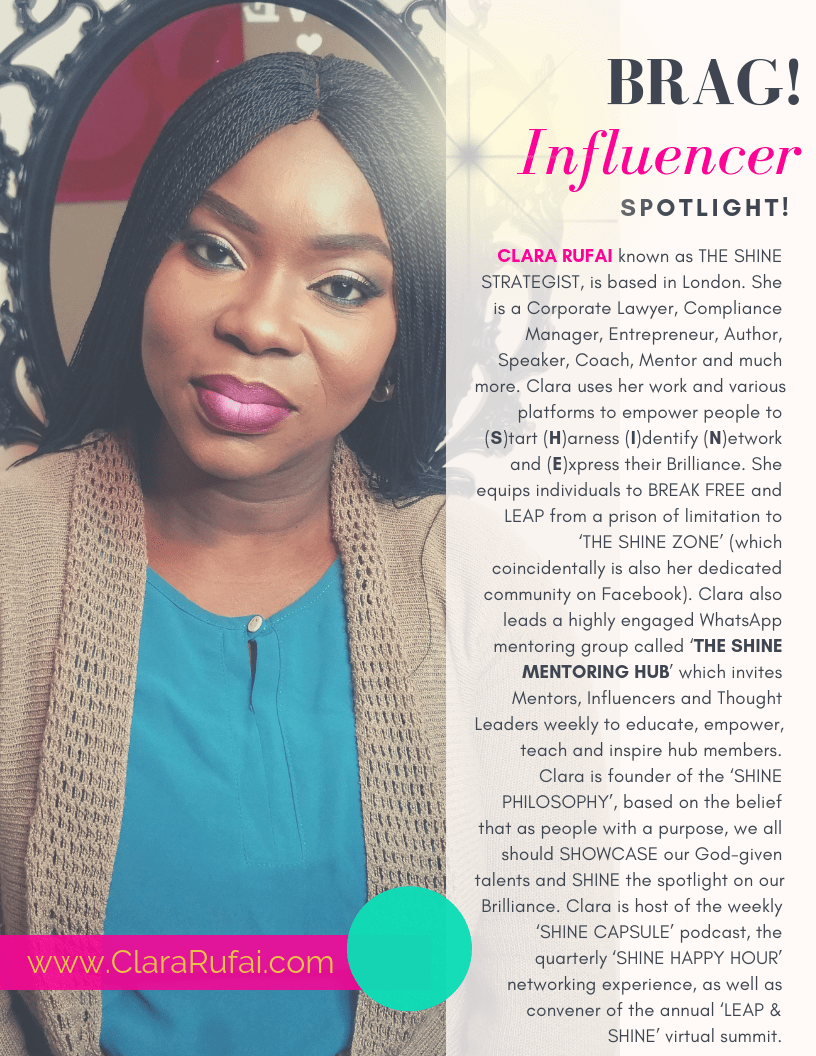 BRAG Bold Winter 2019 Issue featuring The Shine Strategist, Clara Rufai