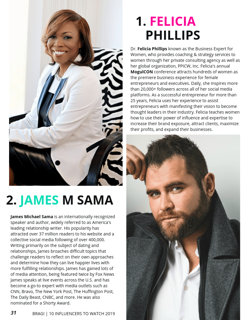 Felicia Phillips and James Michael Sama featured on BRAG! Magazine 2019 Bold Issue