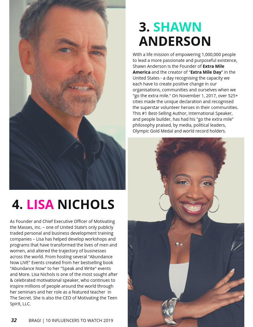 Shawn Anderson and Lisa Nichols featured on BRAG! Magazine 2019 Bold Issue