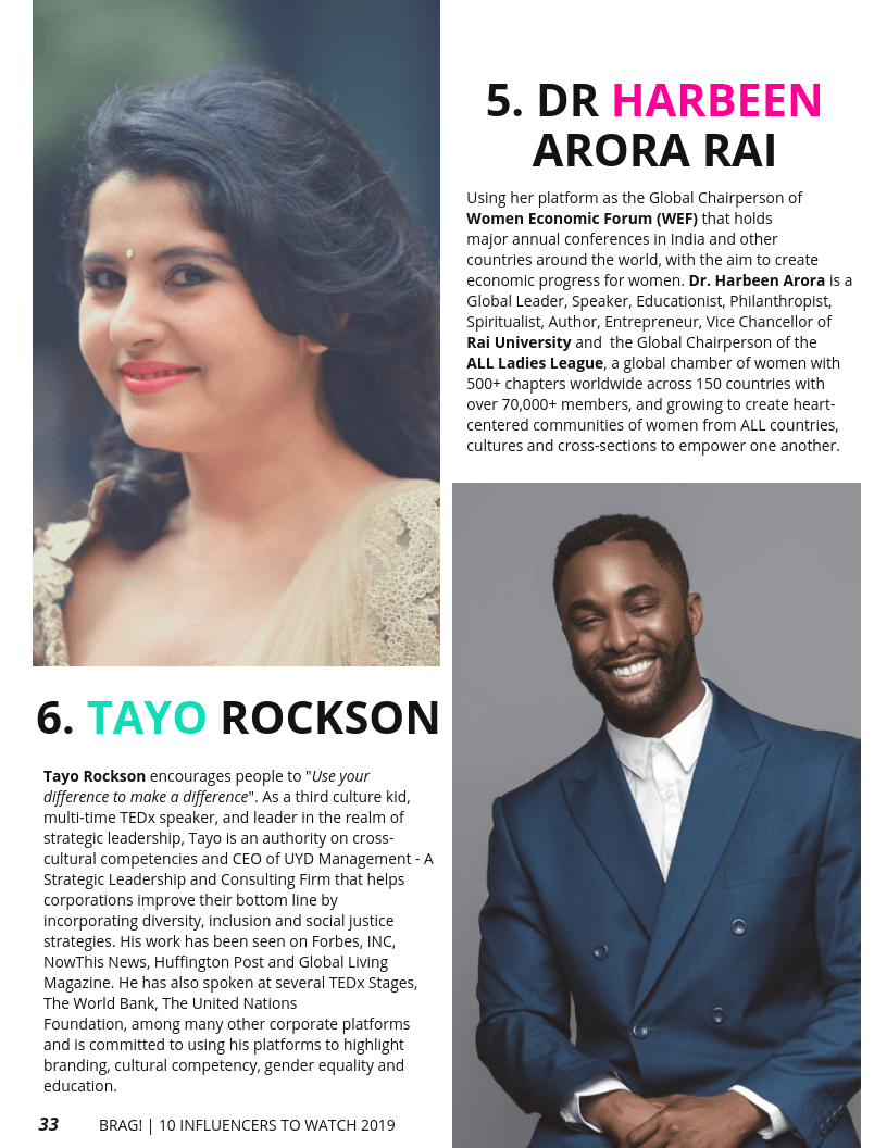 Dr Harbeen Arora and Tayo Rockson featured on BRAG! Magazine 2019 Bold Issue