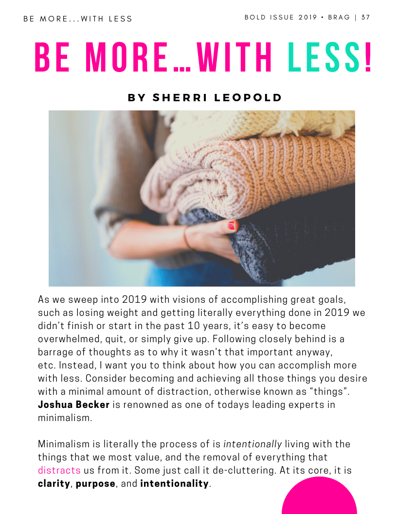 Inside Article Cover from Contributor, Sherri Leopold in the latest 2019 Bold Winter Issue of BRAG!