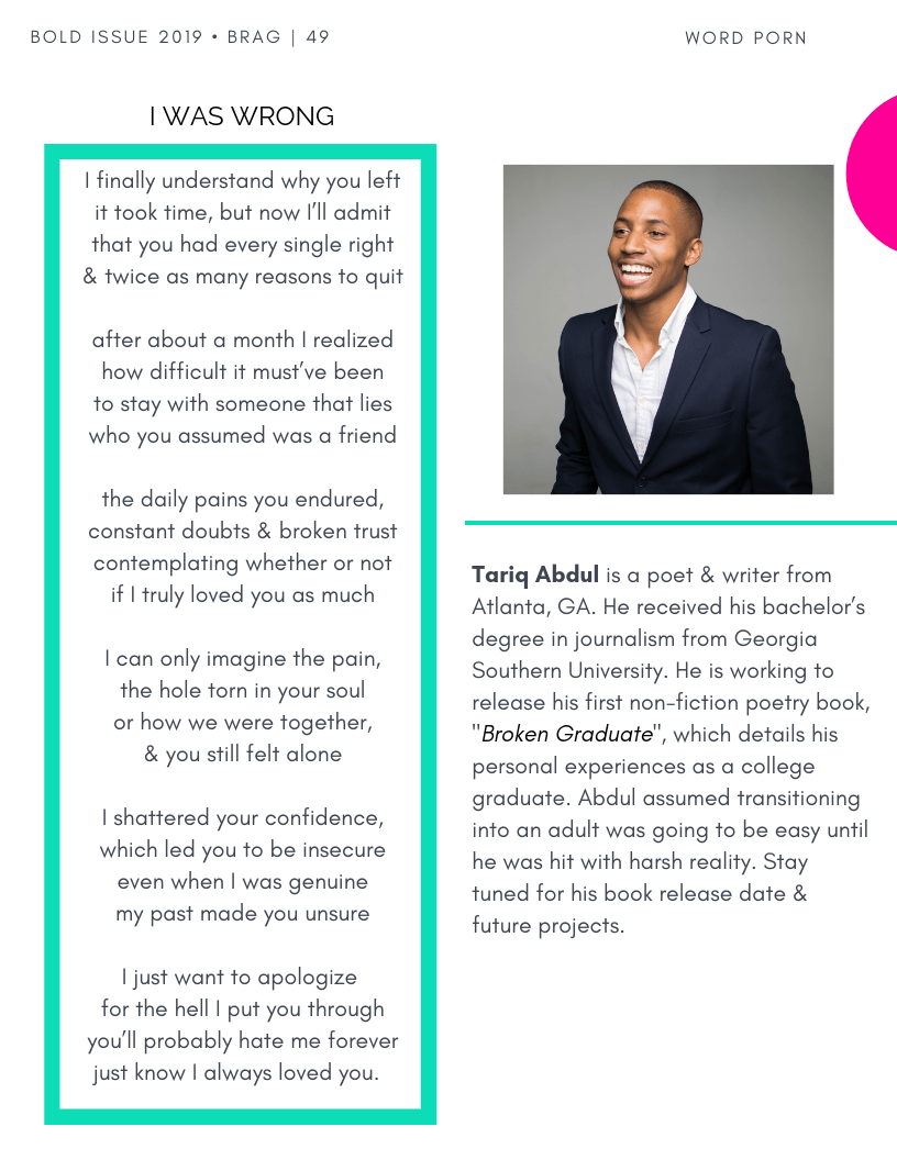 Inside Article Cover from Contributor, Tariq Abdul in the latest 2019 Bold Winter Issue of BRAG!
