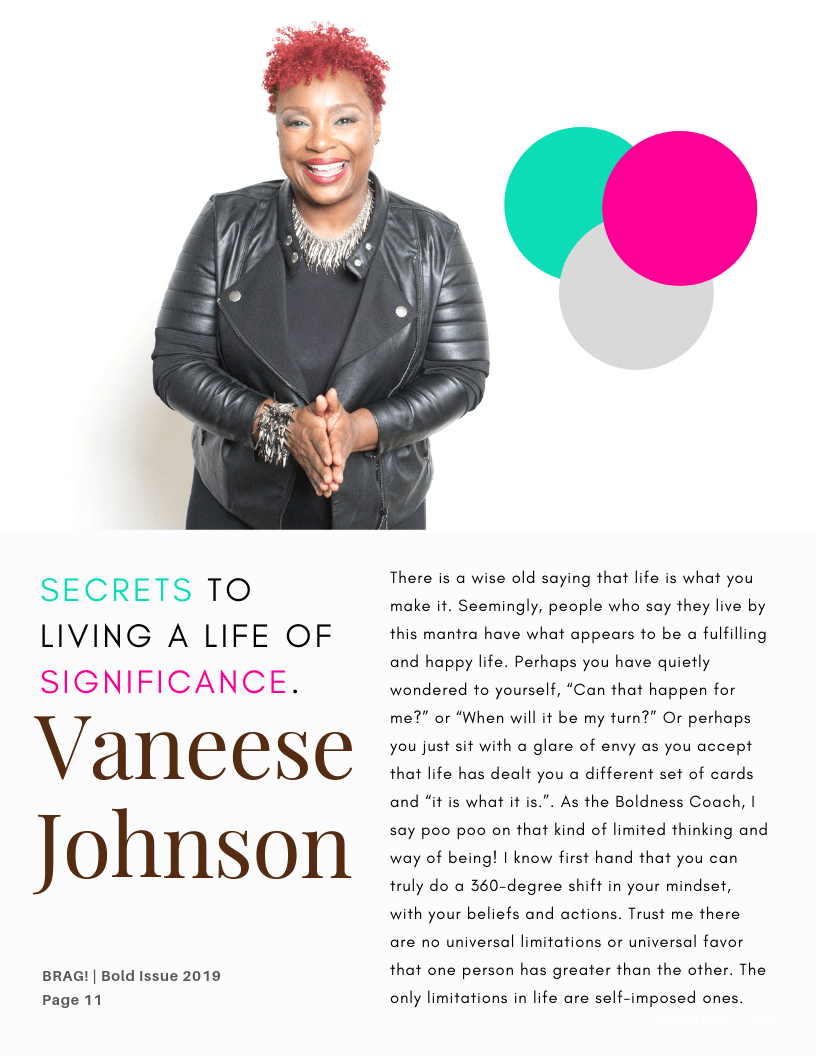 Inside Article Cover from Contributor, Vaneese Johnson (The Boldness Coach) in the latest 2019 Bold Winter Issue of BRAG!