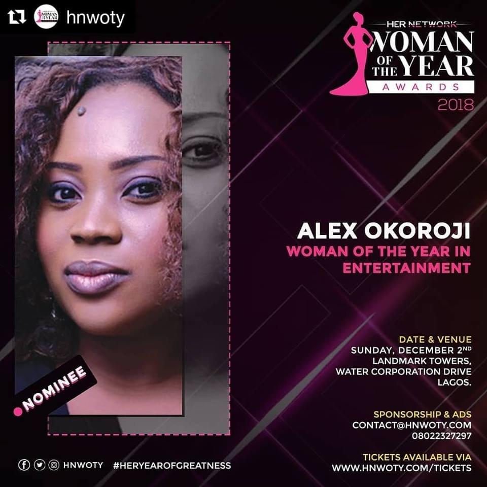 "Alex Okoroji is Nominated for Her Network ""Woman of The Year in Entertainment"" Award"