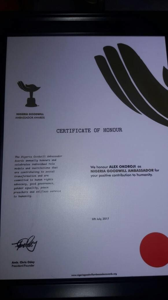 Nigeria Goodwill Ambassador Certificate of Honor for Alex Okoroji