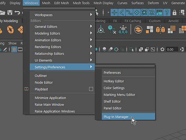 Maya2018 Windows→Settings/Preferences→Plug-in Manager