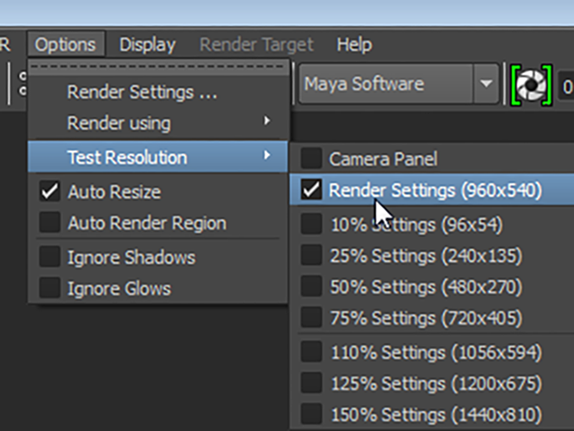 MAYA Options→Test Resolution→Render Settings