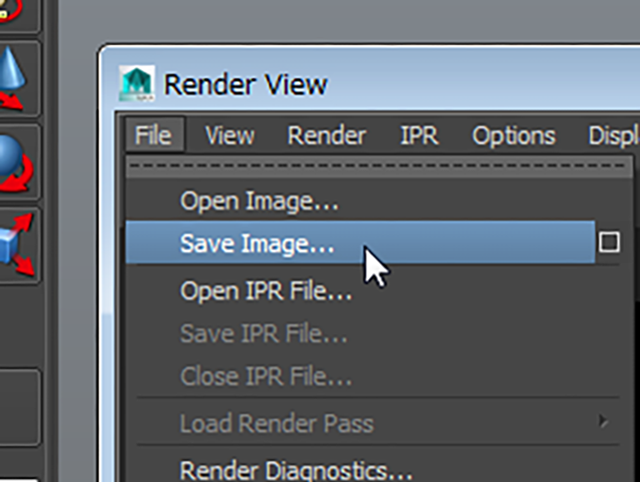 MAYA Render View File→Save Image