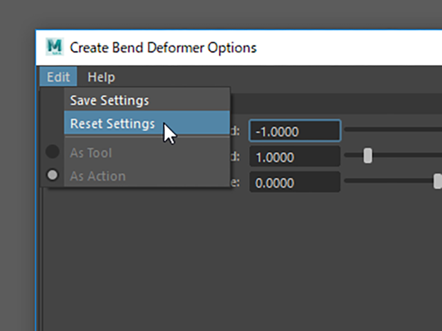 MAYA Reset Settings