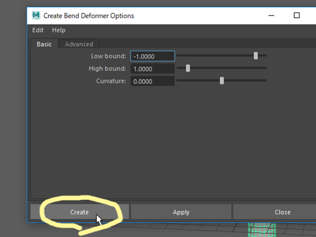 MAYA Bend Options