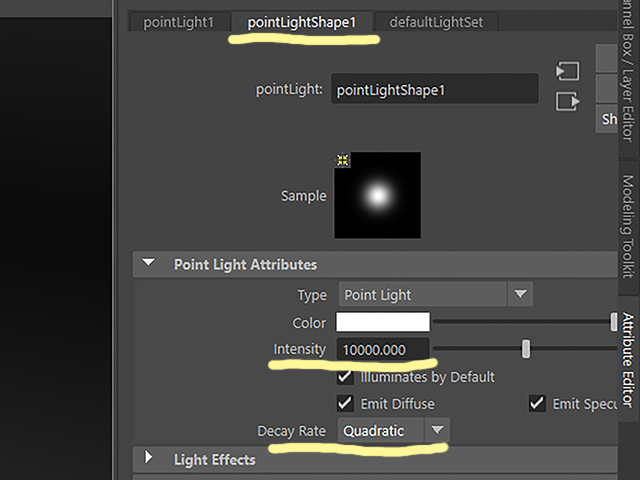 Maya2018 pointLight1