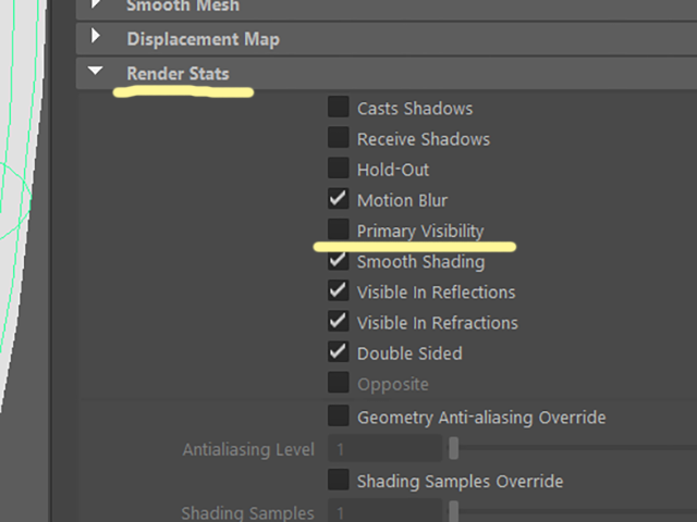 MAYA Render Stats Primary Visibility
