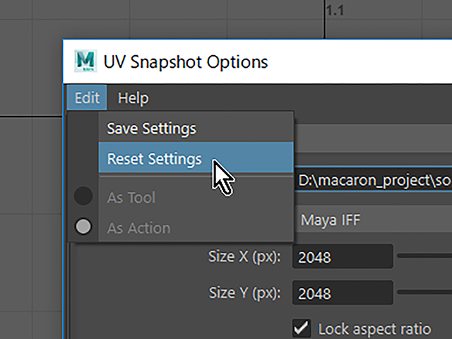 Maya2018 UV Snapshot Reset Settings