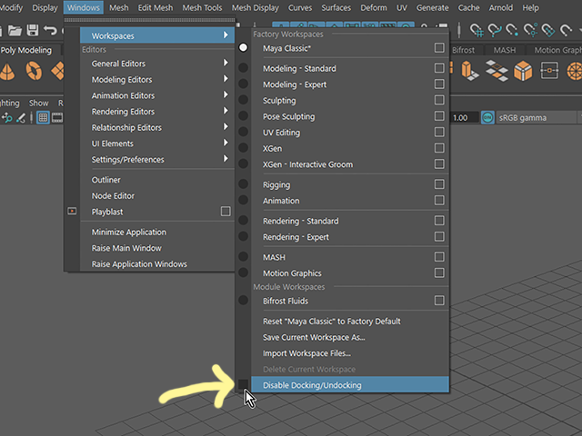 Maya2018 Disable Docking/Undocking