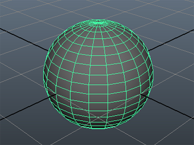 MAYA Create→Polygon Primitives→Sphere
