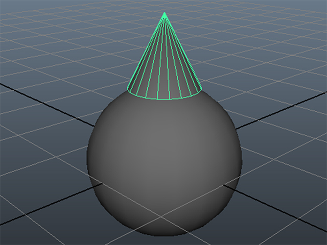 MAYA Create→Polygon Primitives→Cone