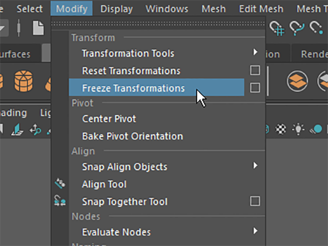 MAYA Modify→Freeze Transformations