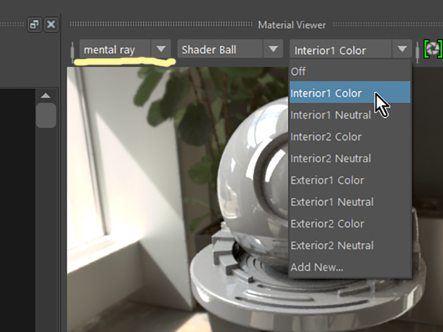 MAYA Hypershade Material Viewer