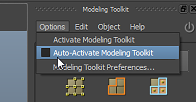 MAYA Options→Auto-Active Modeling Toolkit