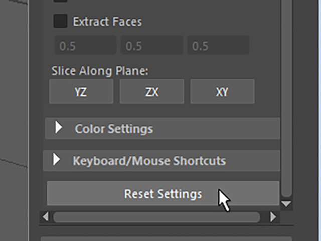 MAYA Modeling Toolkit Reset Settings